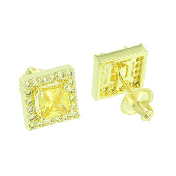 Canary Lab Diamonds Earrings Screw Back 14K Yellow Gold Finish Studs