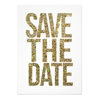 White & Gold Glitter Save the Date Typography