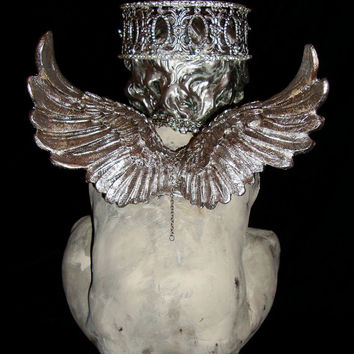 Beautiful Cherub w/Silver Rhinestone Metal Crown Holding Snail with Tiny Crown Putto Santos Angel