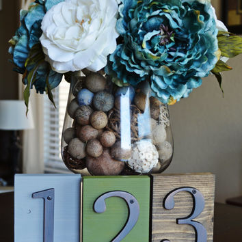 Wedding Table Number, Rustic Wood Table Number, Wedding Centerpiece, Metal Number, Table Centerpiece, Table Decor,  and Home Decor