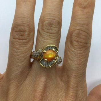 1 Carat Opal and Baguette Diamonds 14K Yellow Gold Statement Ring 2.06 Ctw by Luxinelle® Jewelry