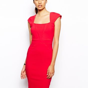 Vesper Valentina Pencil Dress with V Detail - Red