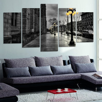 Modern Style Abstract Painting Canvas Retro City Street Landscape Pictures Decorative Painting Wall Art No Frame 5 Piece