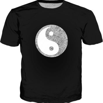 Grey and white swirls doodles Yin Yang Classic T-Shirt Black