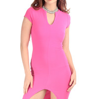 Hot Pink Front Slit Midi Body Con Dress