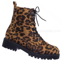 Gigi20 Lace Up Combat Bootie - Women's Fashion Military Threaded Sole Boots