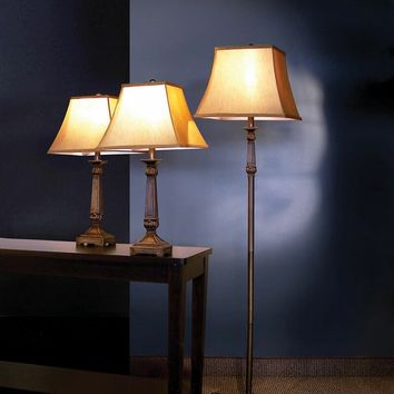 A.M.B. Furniture & Design :: Accessories :: Floor Lamps :: 3 Pc. Traditional Brown Finish Table and Floor Lamps with Antique Finish Lamp Shades