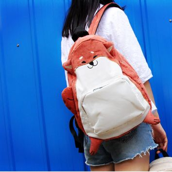 Cute  little fox  print type backpack couple bag Harajuku