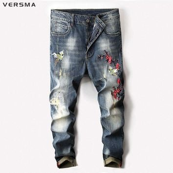 VERSMA 2018 Vintage Embroiderey Ripped Denim Biker Jeans Pants Male Slim Fit Straight Jogger Stretch Skinny Jeans Trousers Men