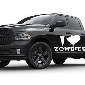 I Love Zombies Zombie Horror Car Truck SUV vinyl graphics Sticker Decal tr068