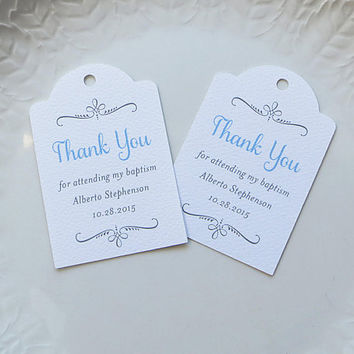 Baptism Favor Tag, Personalized Gift Tags or Wedding Favor Tags, Custom Labels, Custom Thank You Tag