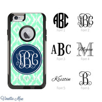 iPhone Otterbox Case for iPhone 5, 5s, 6, 6 Plus Personalized Monogram Ikat Custom Colors Preppy Girls Cell Phone Case Protective Cover 1047