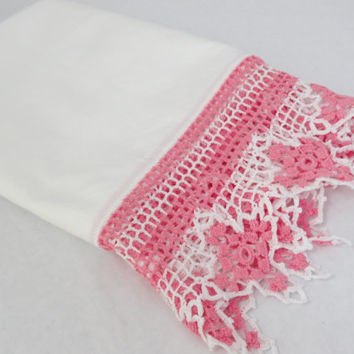 pillowcase pink crochet edge vintage linen pillow case