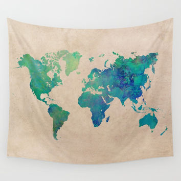 world map 95 green #worldmap #map Wall Tapestry by jbjart