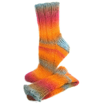 Chemo Socks, Hand Knit Socks Striped Adult Socks Super Soft Acrylic Hand Knit Handmade in Canada Size Medium Seamless Socks #254 SUNRISE