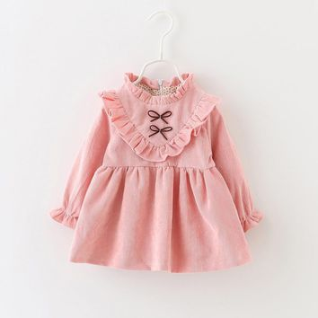 2016 Fall/Winter Baby Dresses Cotton Bowknot Long Sleeve Girl Dress Pink/Purple Baby Kids Toddlers Clothing Princess Costume