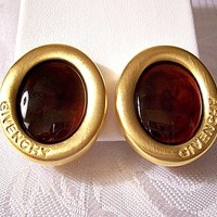 Givenchy Red Oval Clip On Earrings Gold Tone Vintage Oval Satin Swirl