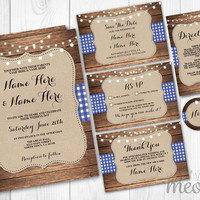 Rustic Wedding Invitations Set Template Package Printable Invites INSTANT DOWNLOAD Tags Blue Navy Barn Check Burlap Wood Lights Editable