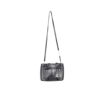 BRIGHTON navy leather cross body bag / woven leather hand bag straps / crocodile embossed / crossbody