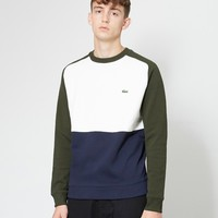 Lacoste Colour Block Sweatshirt Green, White & Navy