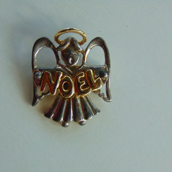 Noel Angel with Wings and Halo Brooch, Pin, Lapel
