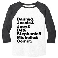 Full House Cast Names Mens Baseball Shirt - White Body-Black Sleeves