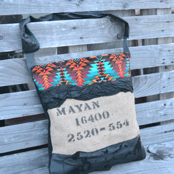 Canvas and Leather Tote Bag - Burlap and Leather Bag - Coffee Bean Tote - Mayan