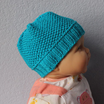 Knit baby hat. Unisex baby beanie. Handmade Merino wool Newborn to 18 months Turquoise Baby shower gift under 30 Photo prop Pick your color