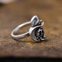 Cowboy Skull Head Ring Unique Funny Adjustable Ring Jewelry Wrap Ring gift