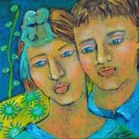 Original Acrylic Painting of a Couple Loves Soft by ArtByJaneane