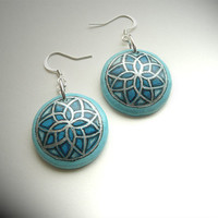 Cute Blue Earrings - Azure Blue Drop Earrings for Women -  Mandala Wooden Earrings - Hand Painted Christmas Gift