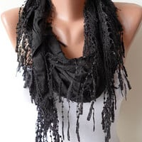 New Gift  Scarf- Christmas Gift - Black Cotton Scarf with Black Trim Edge