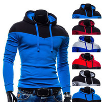 Color Contrast Pull Over Mens Fashion Hoodie