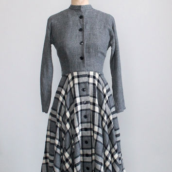 Vintage 1950s Grey Plaid Wool Winter Dress