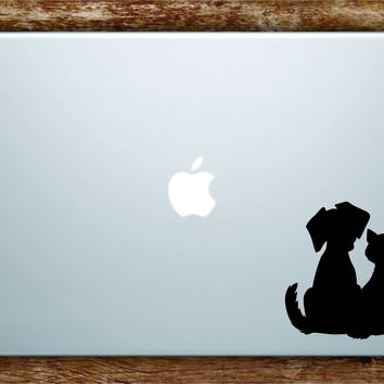 Dog and Cat Silhouette Laptop Apple Macbook Car Quote Wall Decal Sticker Art Vinyl Inspirational Animals Adopt Shelter Rescue Cute