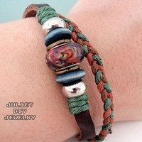 Genuine leather bracelet with beautiful ceramic and wood beads