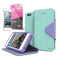 iPhone SE Case, Cellto PU Leather Wallet Cover Stand and Reversible Magnetic Flap [Lifetime Warranty] Flip Cover for Apple iPhone SE / iPhone 5S / iPhone 5 - Mint/Purple