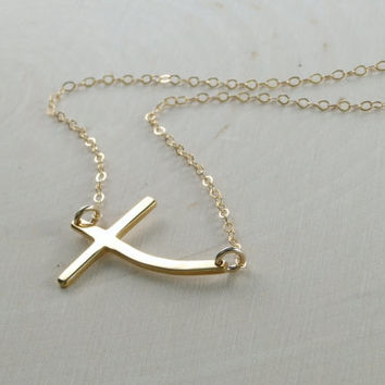 GOLD CURVED Sideways Cross Necklace, Sterling Silver Horizontal Cross, Kelly Ripa Curved Sideways Cross, Christmas Gift, Confirmation Gift