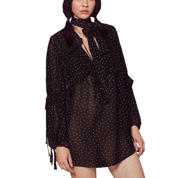 For Love & Lemons Truffles A-Line Mini Dress in Noir Dot as seen on Vanessa Hudgens