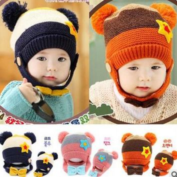 2016 New Fashion Patchwork Star Two Balls Warm Children Knitting Hats  Kids Winter Warm Caps Earmuffs Skullies