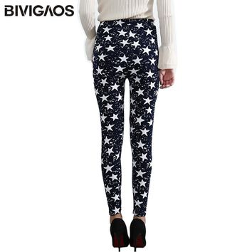 BIVIGAOS Stars Graffiti Leggings