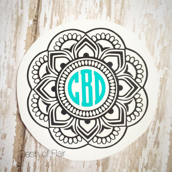 Mandala Monogram, Monogram Decal for Yeti, Monogram Decal for Car, Monogram Decal for Laptop, Monogram Decal for Women, Yeti Decal