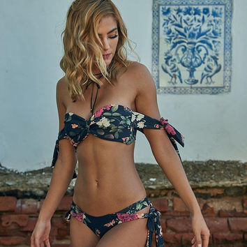 Garden Print Off The Shoulder Bikini Set