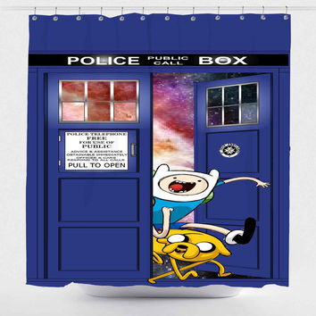 Adventure Time Jake Finn In Dr Who Tardis Call Box For Custom Shower Curtain *