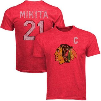 Men's Chicago Blackhawks Adult Stan Mikita #21 Alumni Crewneck S/S Distressed Player T-Shirt, Red-Old Time Hockey,