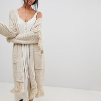 Moon River Oversized Fringed Cardigan at asos.com