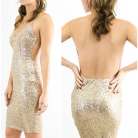 Liquid Gold Sequin V-Neck Backless Bodycon Dress