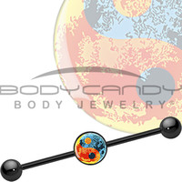 Artistic Yin Yang Symbol Industrial Barbell | Body Candy Body Jewelry