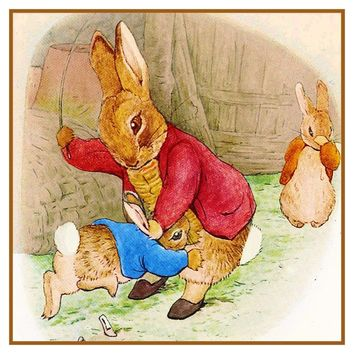 Papa Spanks Peter Rabbit inspired by Beatrix Potter Counted Cross Stitch Pattern