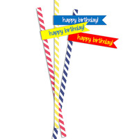 Primary Colors Straw Tags! Red Blue Yellow! Matches Superhero and LEGO Birthday Party Themes! 24 per sheet. Instant Download